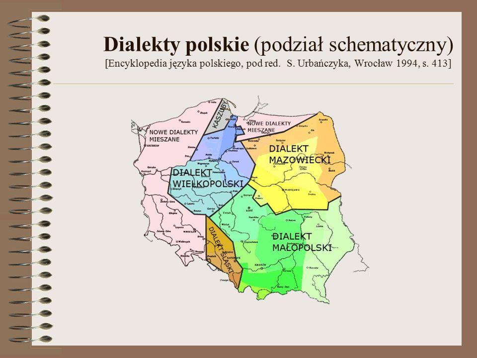 Dialekty polskie (podział schematyczny) [Encyklopedia języka polskiego, pod red.